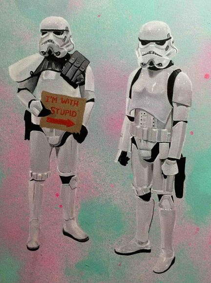 Storm troopers against a spray painted background