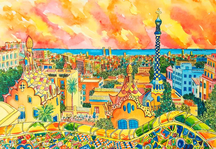 Overview of a city painted in bright vibrant colours