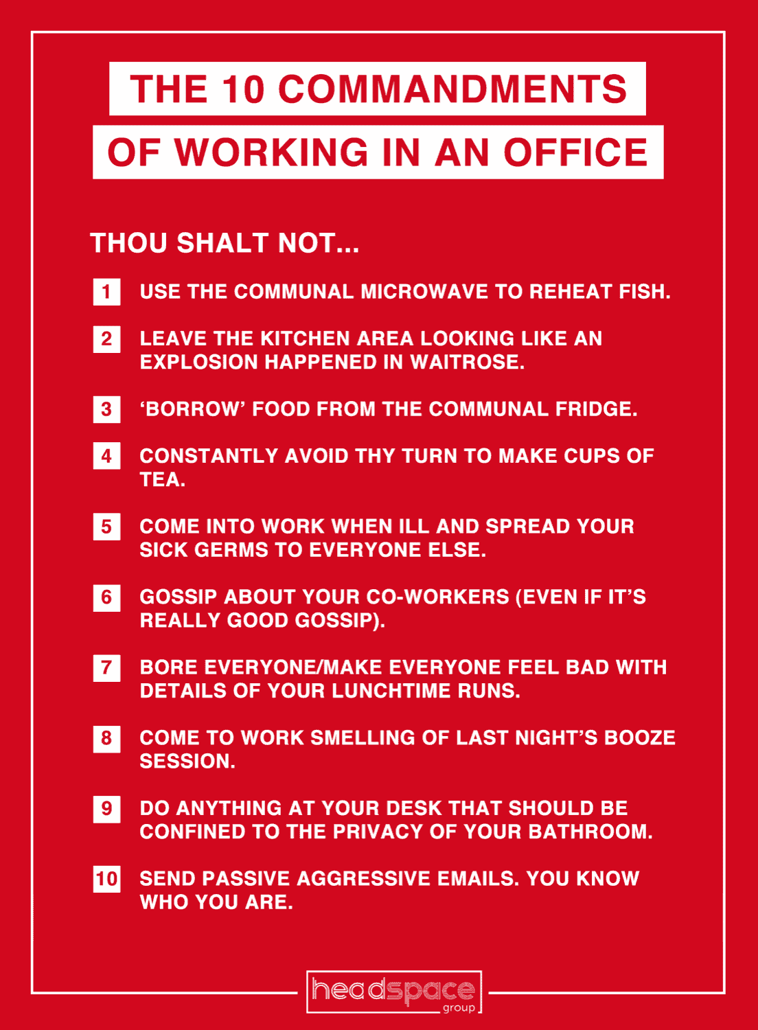The 10 commandments of working in an office infographic