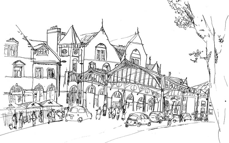 Sketched image of a busy street