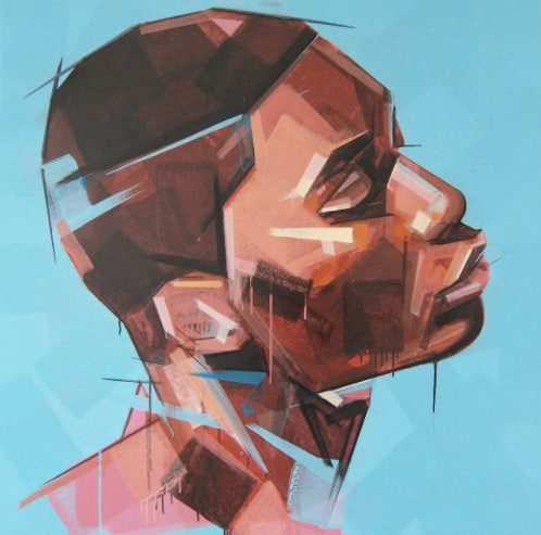 Image of a man painted in blocks