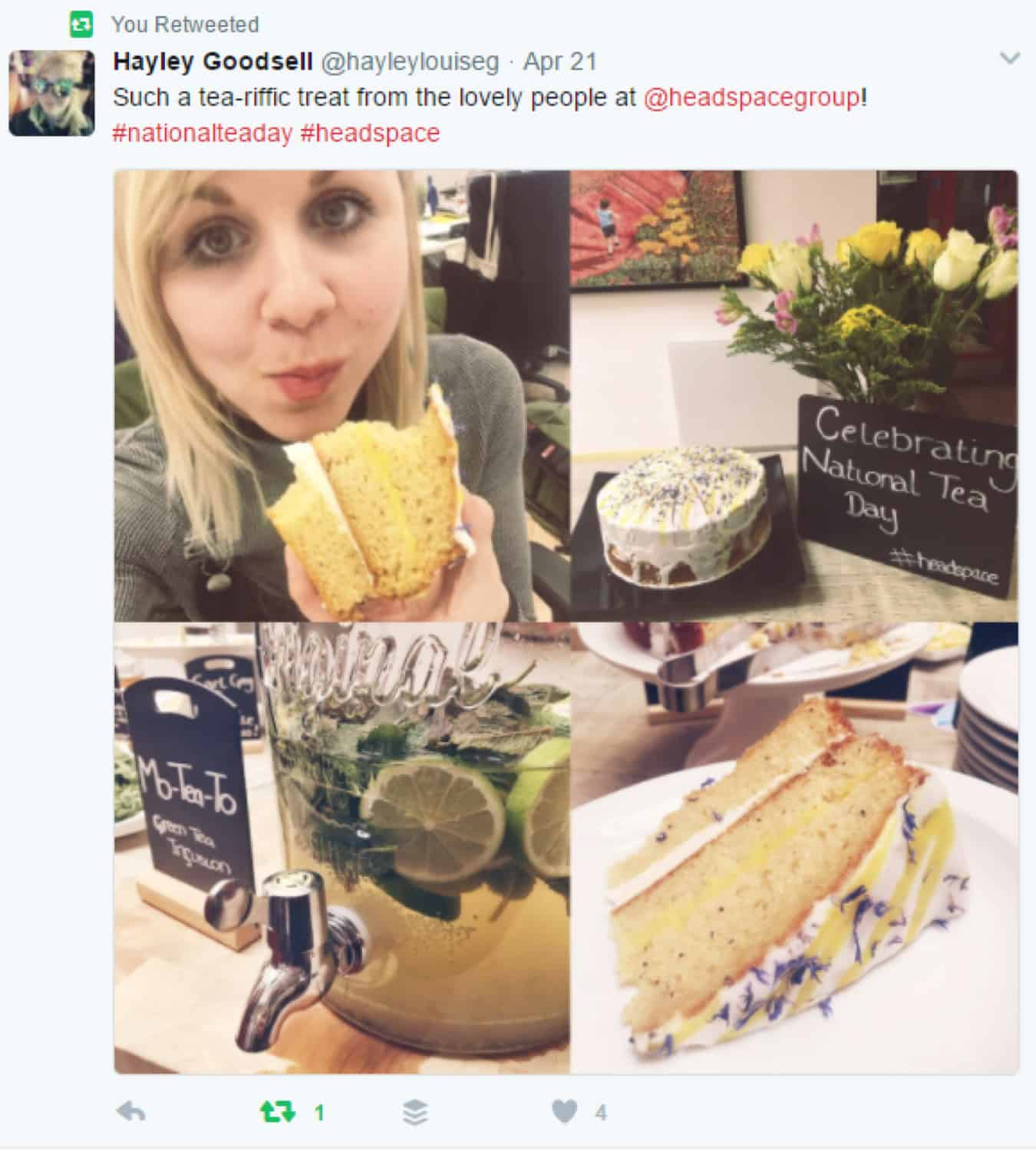 Twitter post with images of cake and tea