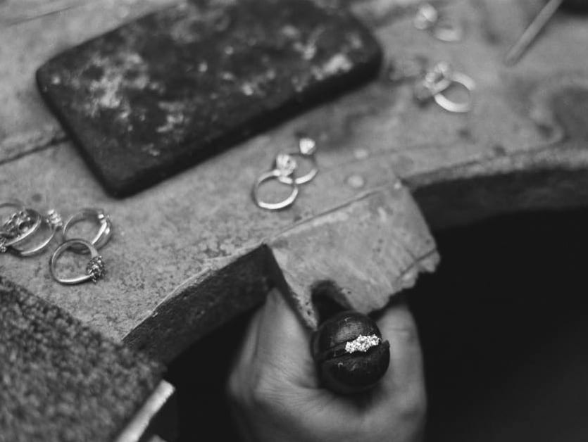 Ring being made in a workshop