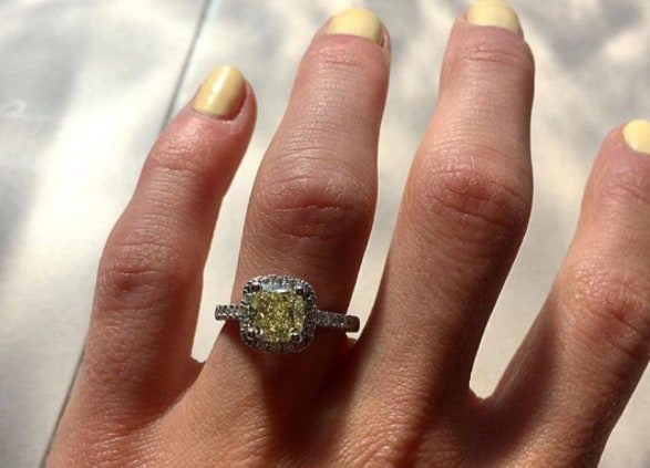 Close-up of a yellow jeweled ring on a hand